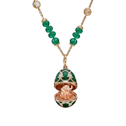 Heritage Rose Gold Emerald & Diamond Transformable Necklace with Elephant Surprise Locket