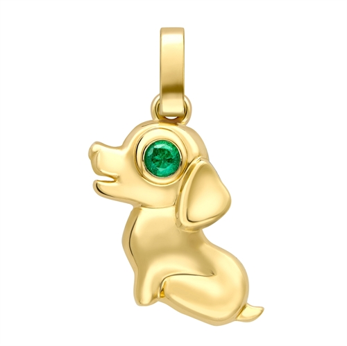 Yellow Gold Dog Charm with Emerald Eyes I Fabergé