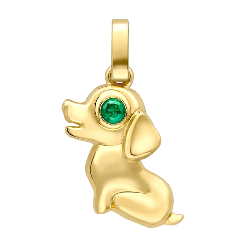 Essence Yellow Gold Dog Charm with Emerald Eyes I Fabergé