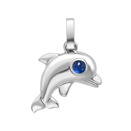 Fabergé Essence White Gold Dolphin Charm with Turquoise Cabochon Eyes I Fabergé