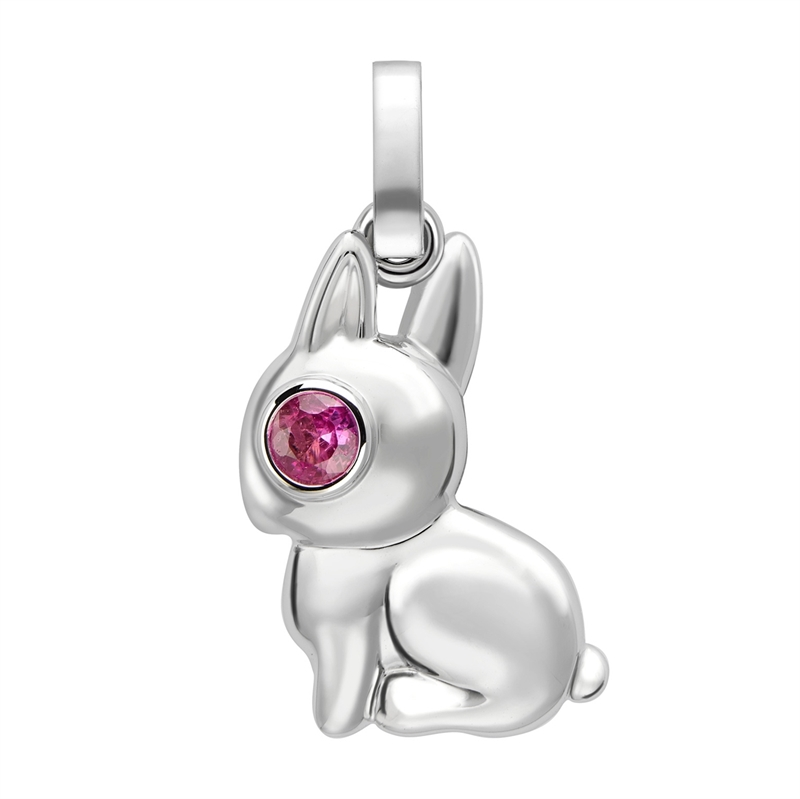 Essence White Gold Rabbit Charm with Pink Sapphire Eyes I Fabergé
