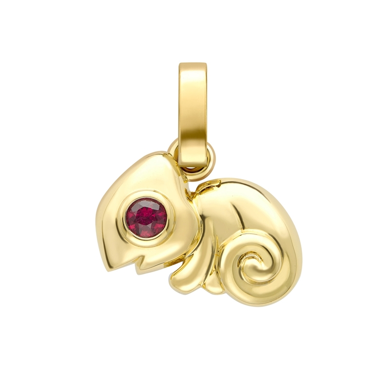 Essence Yellow Gold Chameleon Charm with Ruby & Emerald Eyes I Fabergé