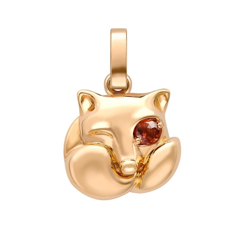 Essence Rose Gold Fox Charm with Spessartite Eye I Fabergé