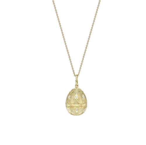 Yellow Gold Diamond & White Guilloché Enamel Egg Pendant | Fabergé