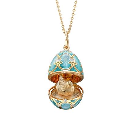 Yellow Gold Diamond & Turquoise Guilloché Enamel Hen Surprise Locket | Fabergé