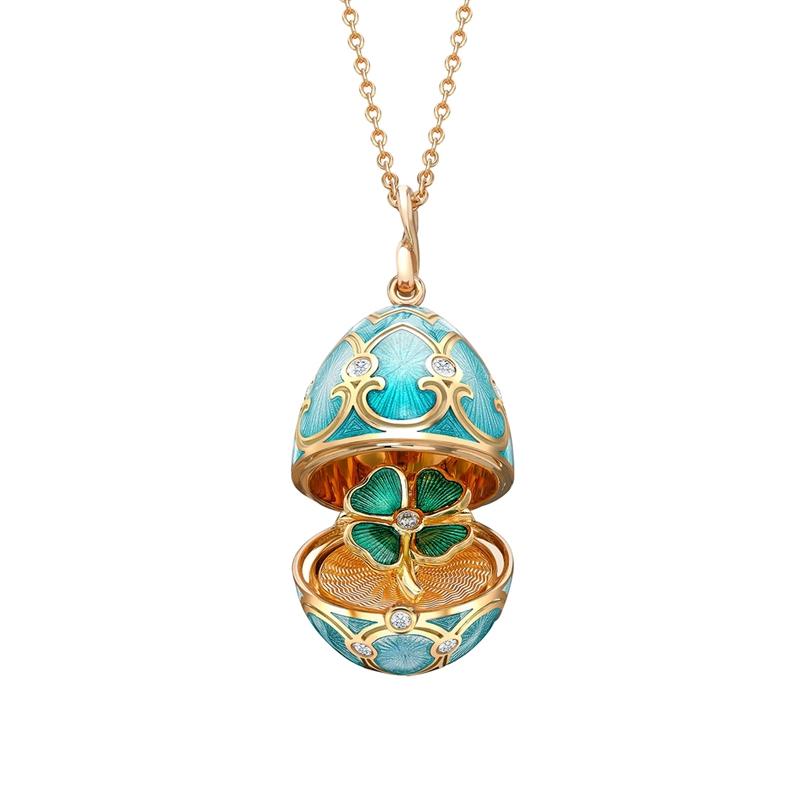 Fabergé Egg Locket Pendant - Palais Tsarskoye Selo Turquoise Clover Locket