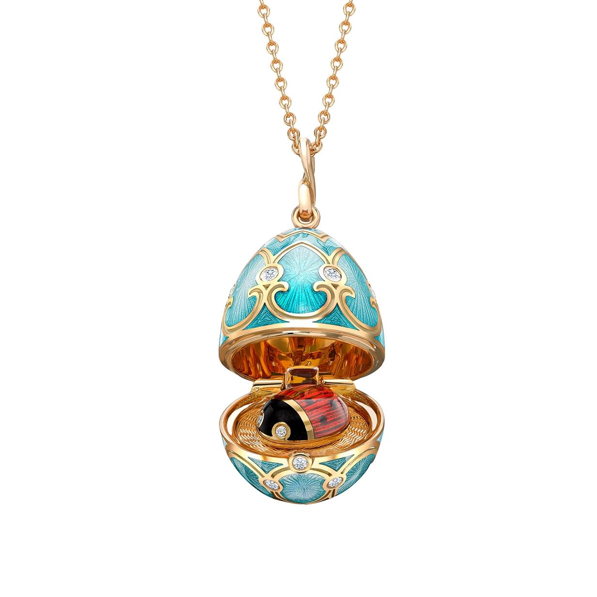 Yellow Gold Diamond & Turquoise Guilloché Enamel Ladybird Surprise Locket | Fabergé