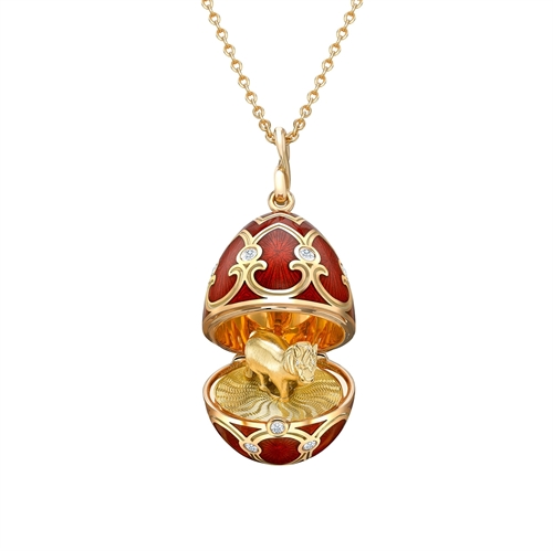 Yellow Gold Diamond & Red Guilloché Enamel Year Of The Horse Surprise Locket | Fabergé