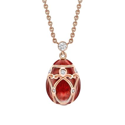 Rose Gold Diamond & Red Guilloché Enamel Petite Egg Pendant | Fabergé