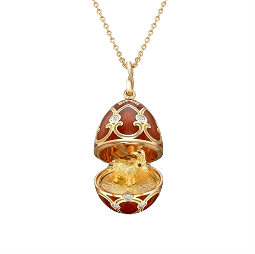Yellow Gold Diamond & Red Guilloché Enamel Year Of The Goat Surprise Locket | Fabergé