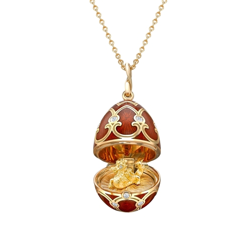 Yellow Gold Diamond & Red Guilloché Enamel Year Of The Dragon Surprise Locket | Fabergé