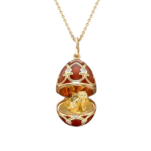 Yellow Gold Diamond & Red Guilloché Enamel Year Of The Tiger Surprise Locket | Fabergé