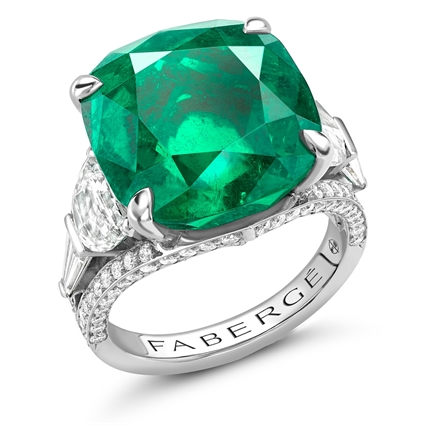 Platinum 13.69ct Cushion Cut Emerald Ring Set With Diamonds | Fabergé