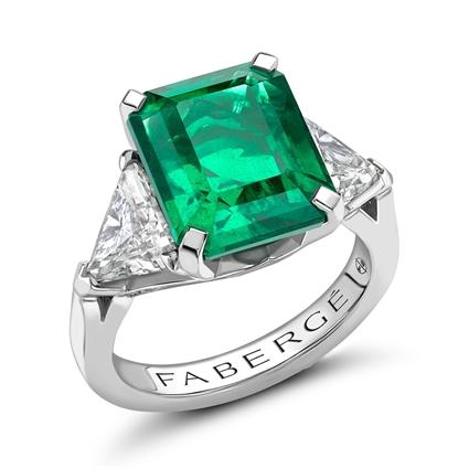 Platinum 6.22ct Octagon Cut Emerald Ring Set With Diamonds | Fabergé