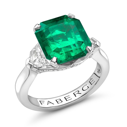 Platinum 5.12ct Step Cut Emerald Ring Set With Diamonds | Fabergé