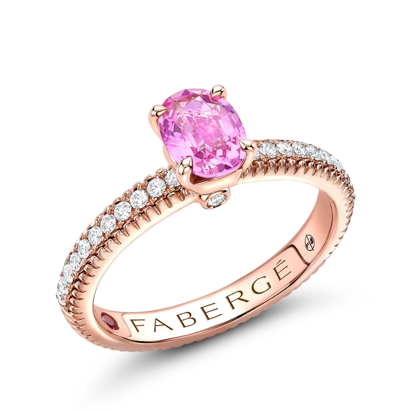 Rose Gold Pink Sapphire Fluted Ring with Diamond Shoulders | Fabergé
