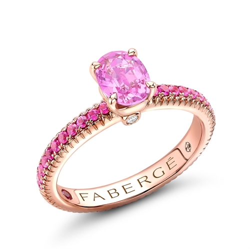 Rose Gold Pink Sapphire Fluted Ring with Pink Sapphire Shoulders | Fabergé