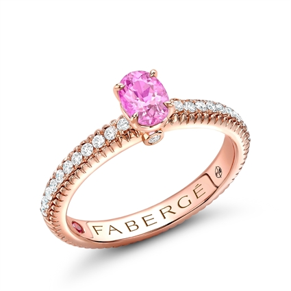 Rose Gold Pink Oval Sapphire Fluted Ring with Diamond Shoulders | Fabergé