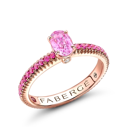 18K Rose Gold Oval Pink Sapphire Fluted Ring with Pink Sapphire Shoulders