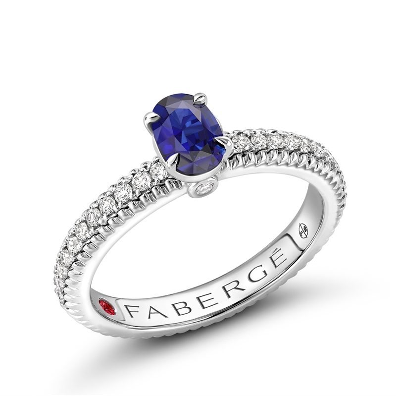 White Gold Blue Sapphire Fluted Ring with Diamond Shoulders | Fabergé