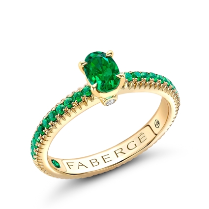 Yellow Gold Emerald Fluted Ring with Tsavorite Shoulders | Fabergé