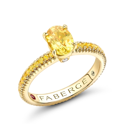 Yellow Gold Yellow Sapphire Fluted Ring with Yellow Sapphire Shoulders | Fabergé
