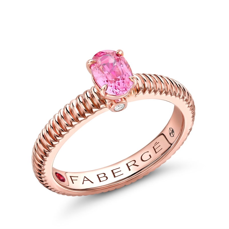 Rose Gold Pink Sapphire Fluted Ring | Fabergé
