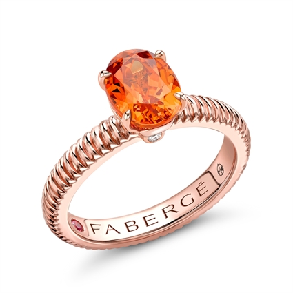 18k Rose Gold Oval Spessartite Fluted Ring