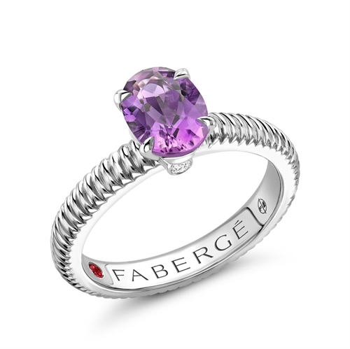 Sterling Silver Oval Amethyst Fluted Ring