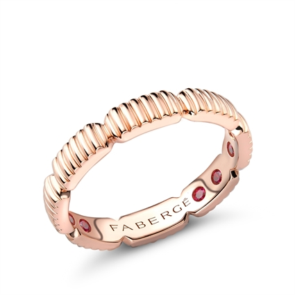 Rose Gold Fluted Healing Ring with Hidden Rubies | Fabergé