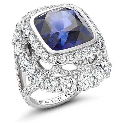Platinum 13.01ct Cushion Cut Blue Sapphire Ring Set With Diamonds | Fabergé