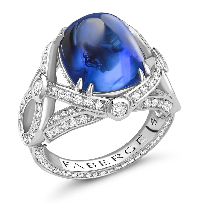 Platinum 11.21ct Sugarloaf Cut Blue Sapphire Ring Set With Diamonds   Fabergé