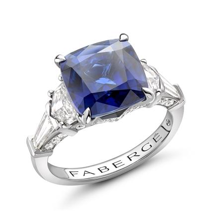 Platinum 5.43ct Cushion Cut Blue Sapphire Ring Set With Diamonds | Fabergé