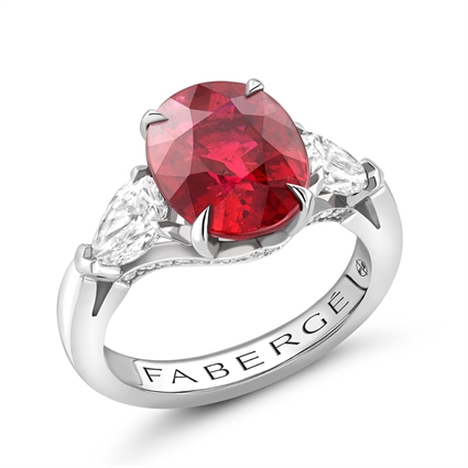 Platinum 2.01ct Oval Cut Ruby Ring Set With Diamonds | Fabergé