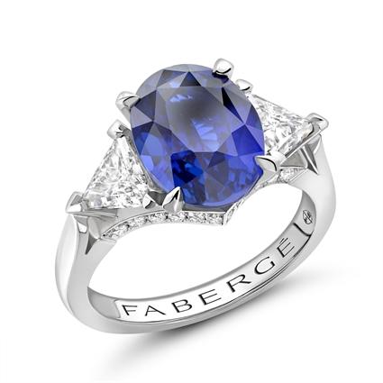 Platinum 5.12ct Oval Cut Blue Sapphire Ring Set With Diamonds | Fabergé