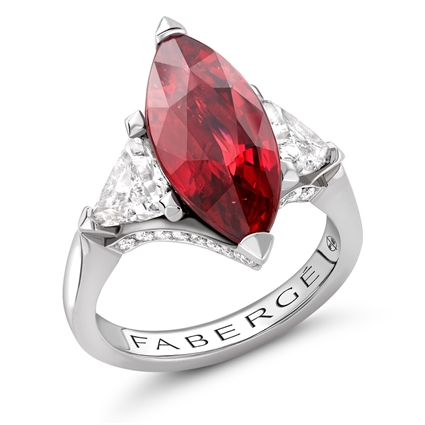 Platinum 5ct Marquise Cut Ruby Ring Set With Diamonds | Fabergé