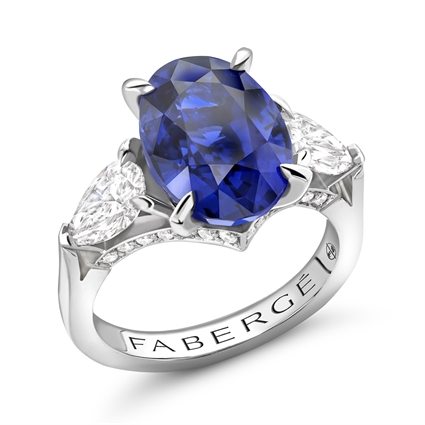 Platinum 3.47ct Oval Cut Blue Sapphire Ring Set With Diamonds | Fabergé