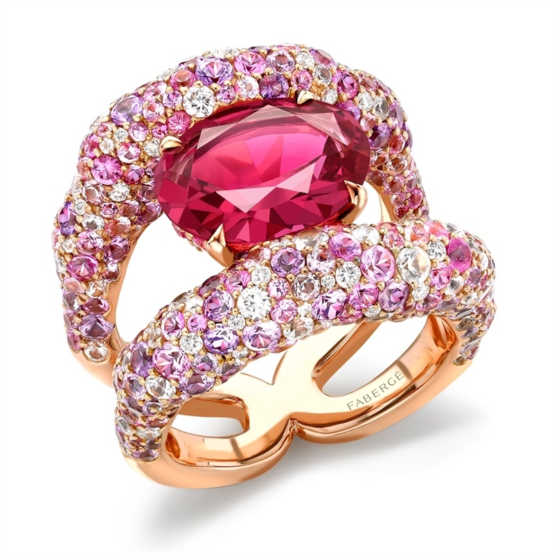 Pink Spinel, Diamond & Sapphire Charmeuse Ring   Fabergé
