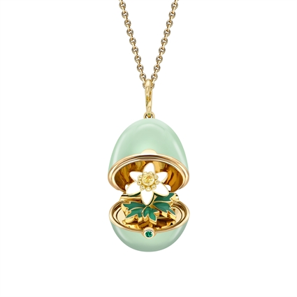Yellow Gold, Yellow Sapphire & Emerald Anemone Surprise Locket With Green Lacquer  | Fabergé