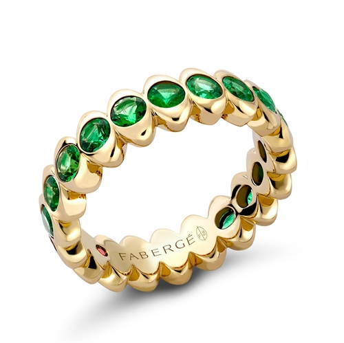 Colours of Love Yellow Gold Emerald Eternity Ring | Fabergé