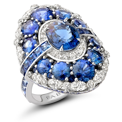 White Gold 2.6ct Blue Sapphire Ring Set With Diamonds & Blue Sapphires I Fabergé