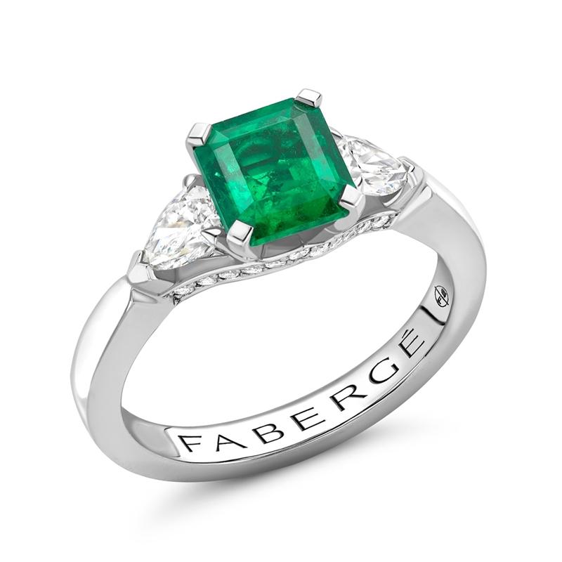 Platinum 1.28ct Step Cut Emerald Ring Set With Diamonds   Fabergé