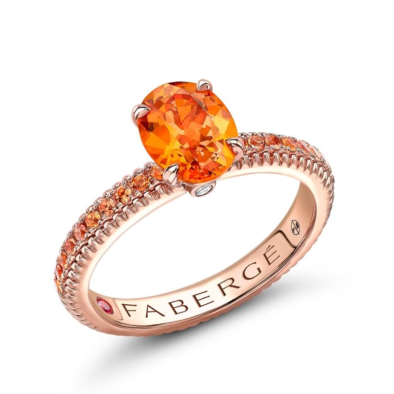 Rose Gold Spessartite Fluted Ring with Orange Sapphire Shoulders | Fabergé