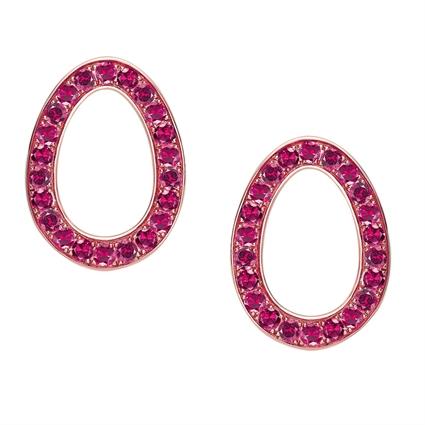 Rose Gold Ruby Egg Stud Earrings   Fabergé