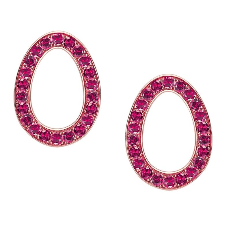Rose Gold Ruby Egg Stud Earrings | Fabergé