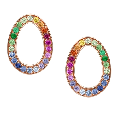 Rose Gold & Rainbow Gemstone Egg Stud Earrings | Fabergé