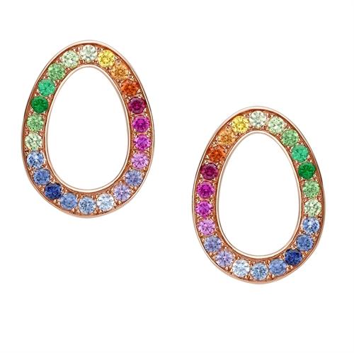 Rose Gold & Rainbow Gemstone Egg Stud Earrings   Fabergé