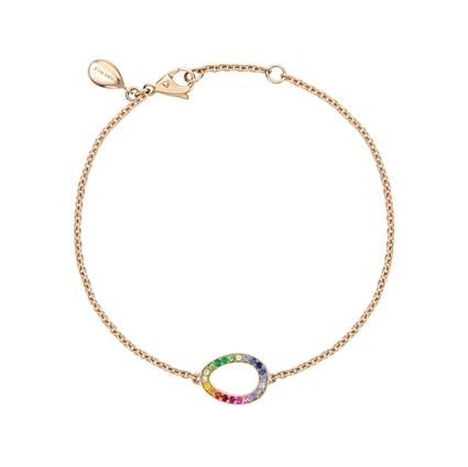Rose Gold Rainbow Multicoloured Gemstone Egg Chain Bracelet | Fabergé