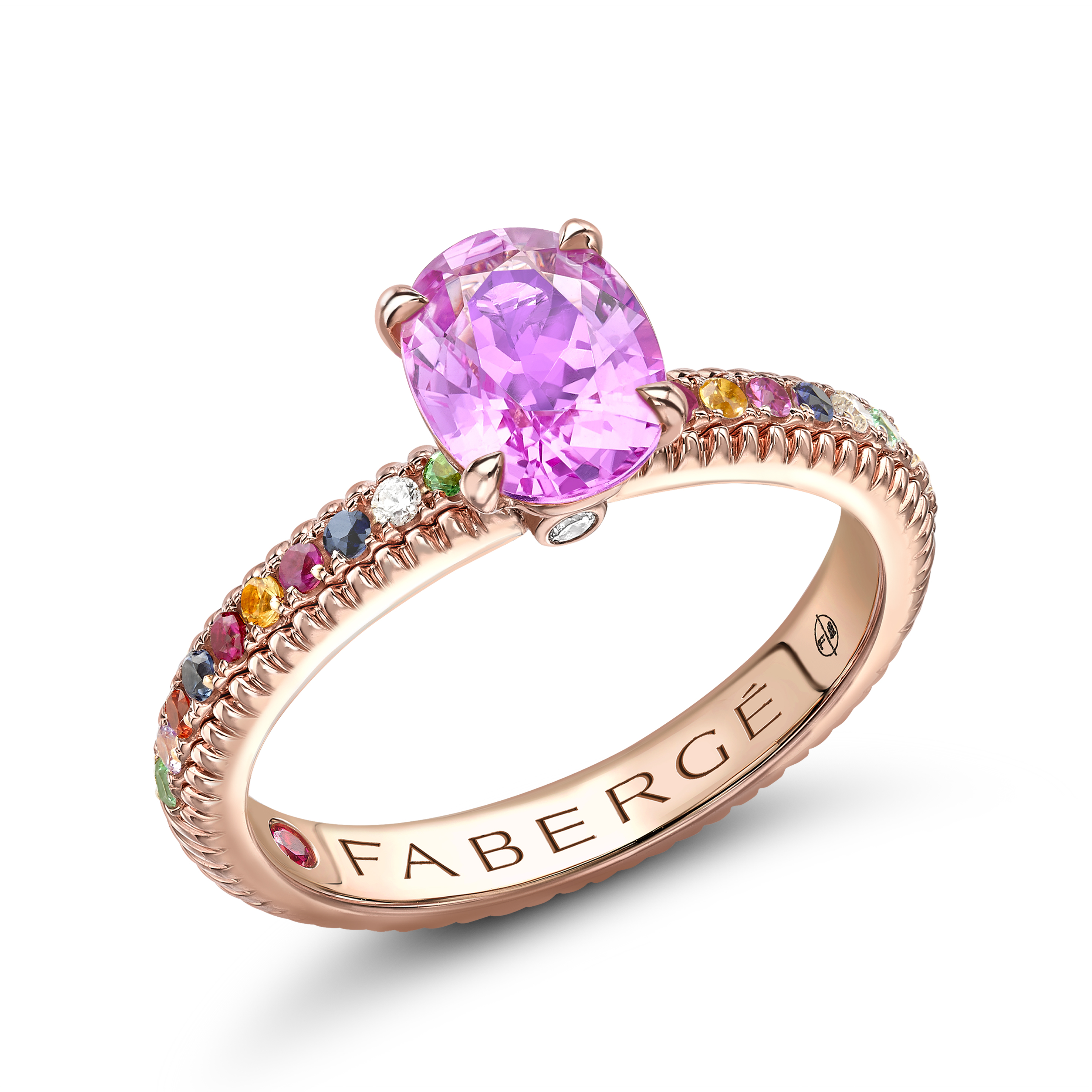 Rose Gold Pink Sapphire Fluted Ring with Multi Stone Set Shoulders   Fabergé