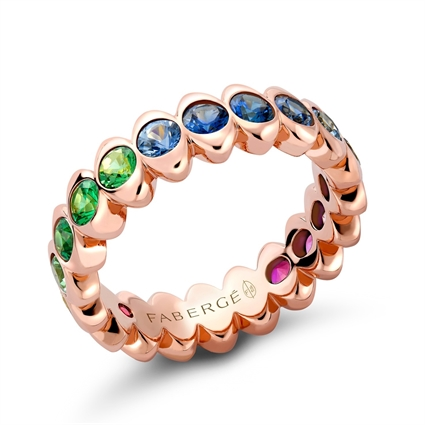 Rose Gold Rainbow Multicoloured Gemstone Eternity Ring | Fabergé